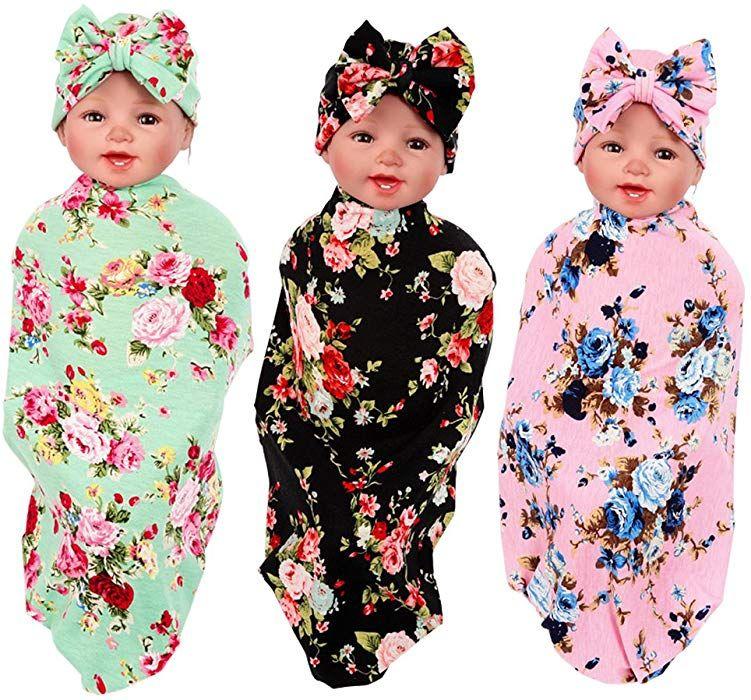3 Pack Receiving Blanket with Headbands BQUBO Newborn Baby Floral PrintedBaby