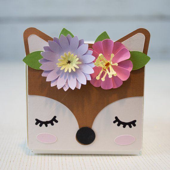Woodland Animal Party Favor Boxes for Birthdays and Baby Showers with a Fox, Deer, Bear, Raccoon, Owl, and Bunny