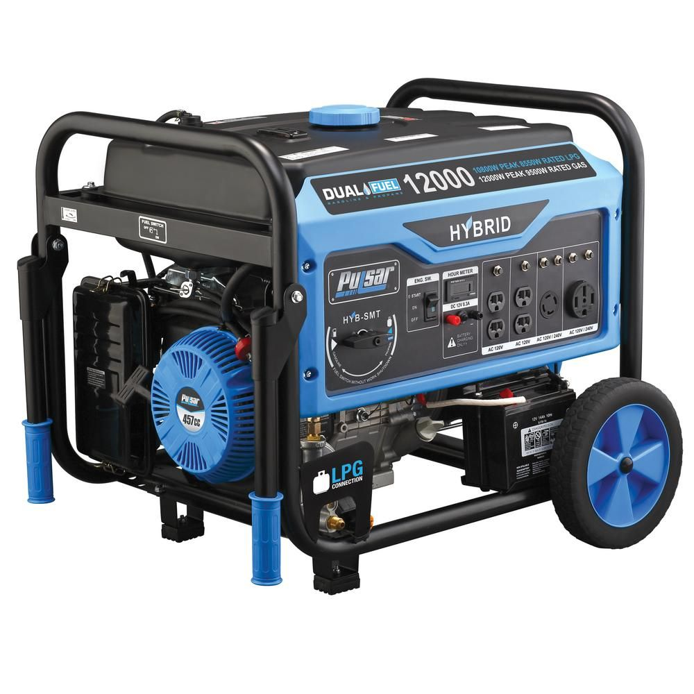 Pulsar 12 000 Watt 9 500 Watt Dual Fuel Gasoline Propane Powered Electric Recoil Start Portable Generator 457cc Carb Compliant Pg12000b The Home Depot Dual Fuel Generator Propane Generator Portable Generator