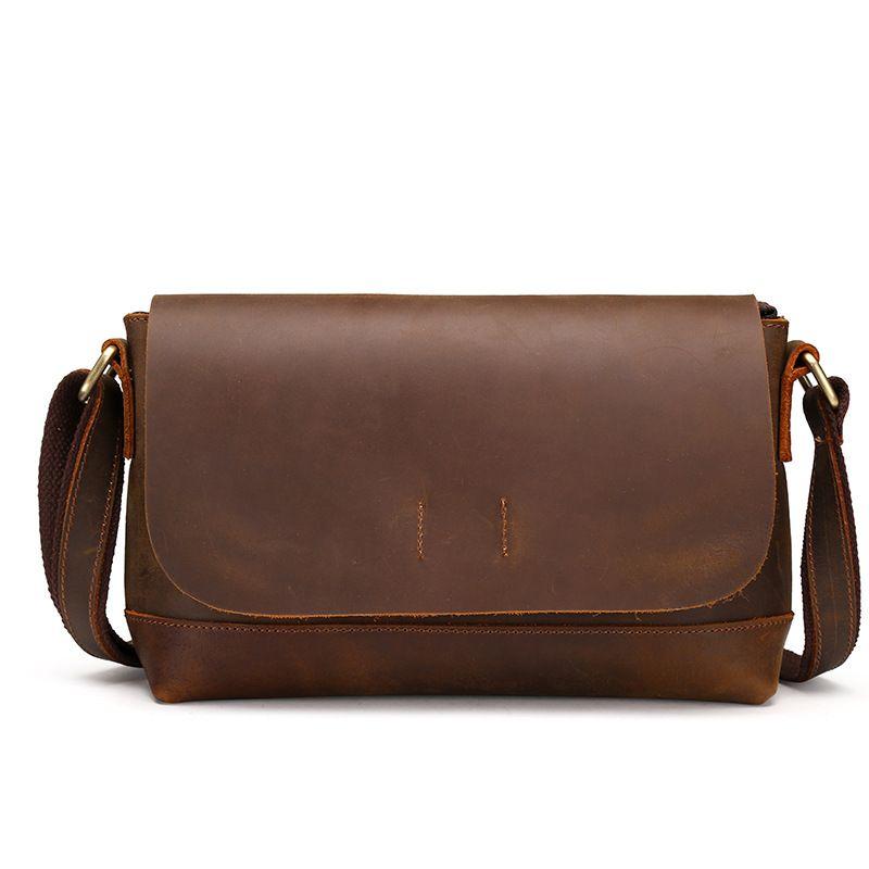 f684ddcf3c22 BAOERSEN Brand 2017 High Quality Crazy horse Genuine Leather Handbag Men s  Crossbody Shoulder Messenger Bag Zipper
