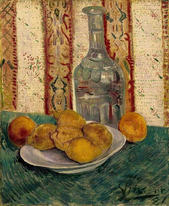 Vincent van Gogh, naturaleza muerta con garrafa y limones, 1887. Óleo sobre lienzo, 46.5 x 38.5 cm, Van Gogh Museum, Amsterdam,