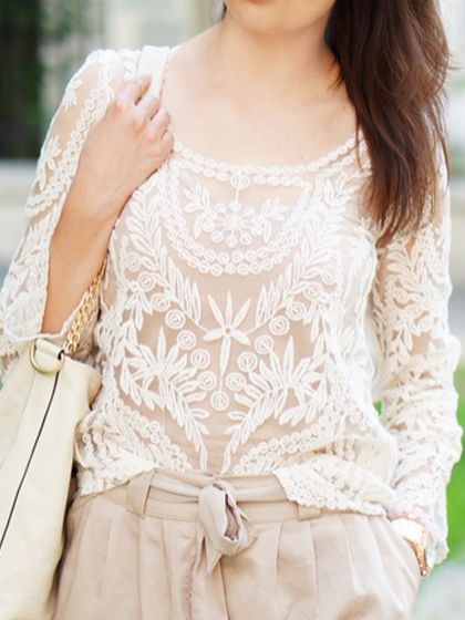 White Crochet Lace Long Sleeve Top with Mesh Panel | Choies