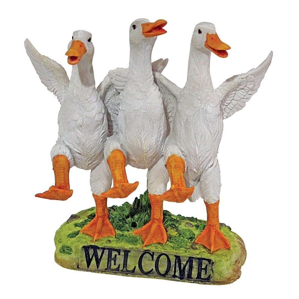 Exceptional Yard Art Duck Garden Decor Outdoor Lawn Ducklings Pekin Bird Welcome Statue