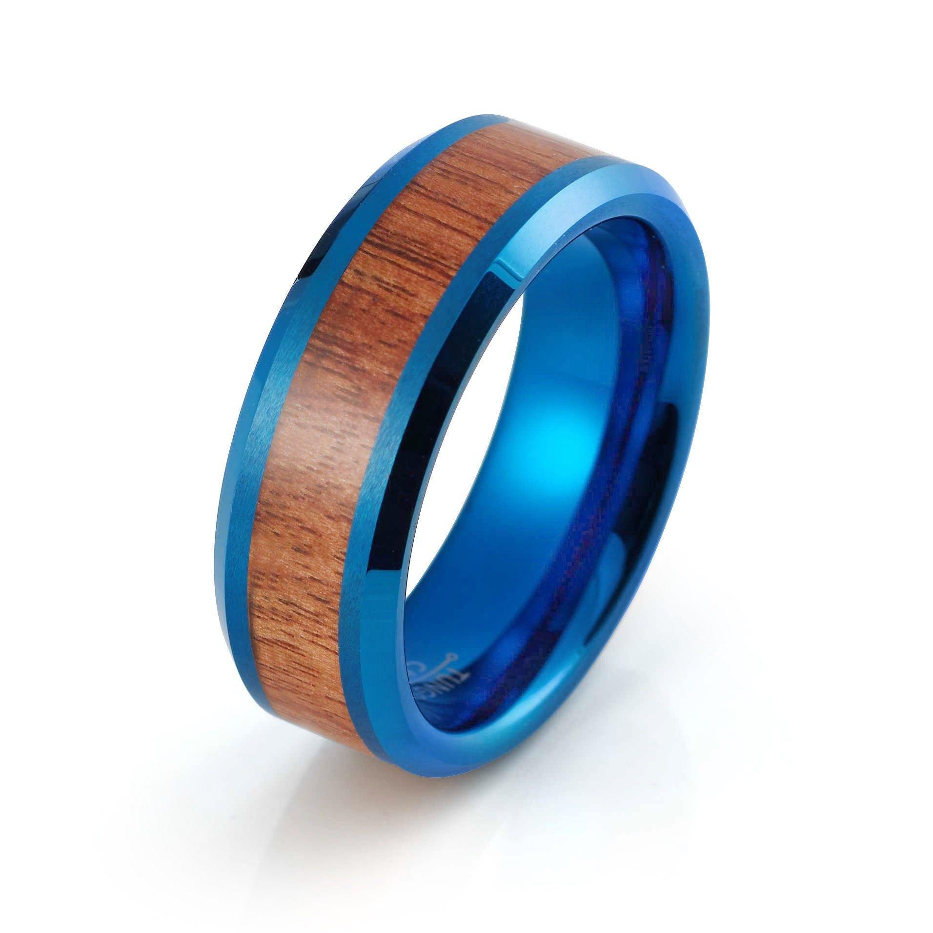 Koa Wood Ring Tungsten Wedding Band Mens Blue Ring 8mm Engagement Anniversary Koa Wood Wedding Band Blue Wood Ring Tungsten Blue