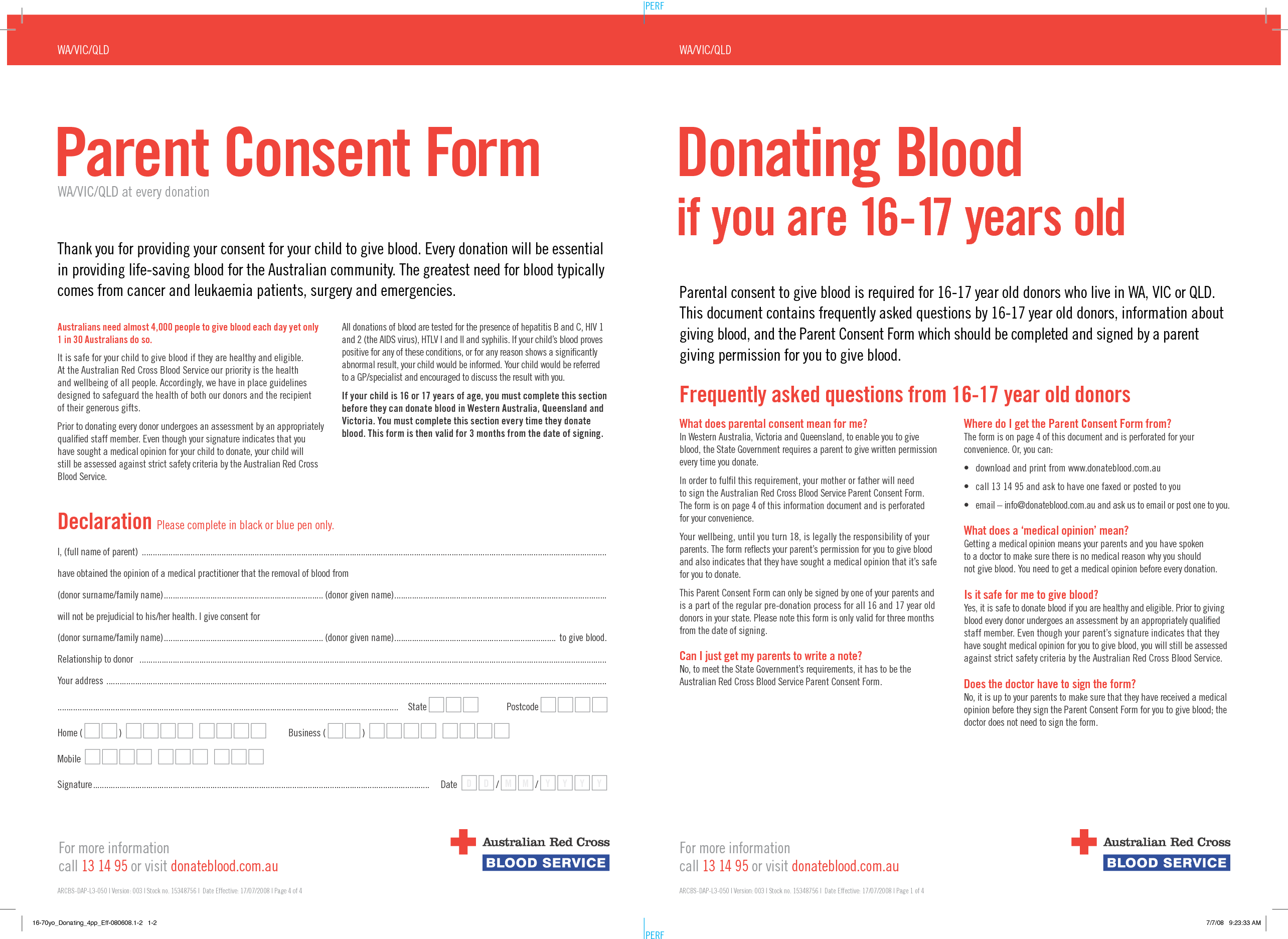 Parent consent form for blood donation in Australia for Red Cross ...