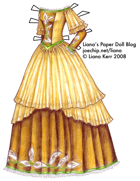 The Twelve Dancing Princesses (A Christmas Tale), Day 2: Camellia's Gold Gown with Calla Lilies and Green Ribbons | Liana's Paper Dolls
