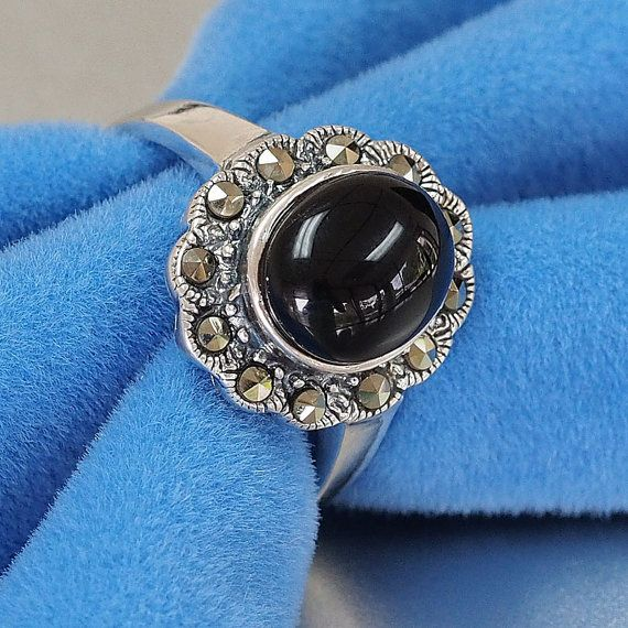 925 Handmade Sterling Silver Marcasite Ring set with oval cabochon natural black onyx stone