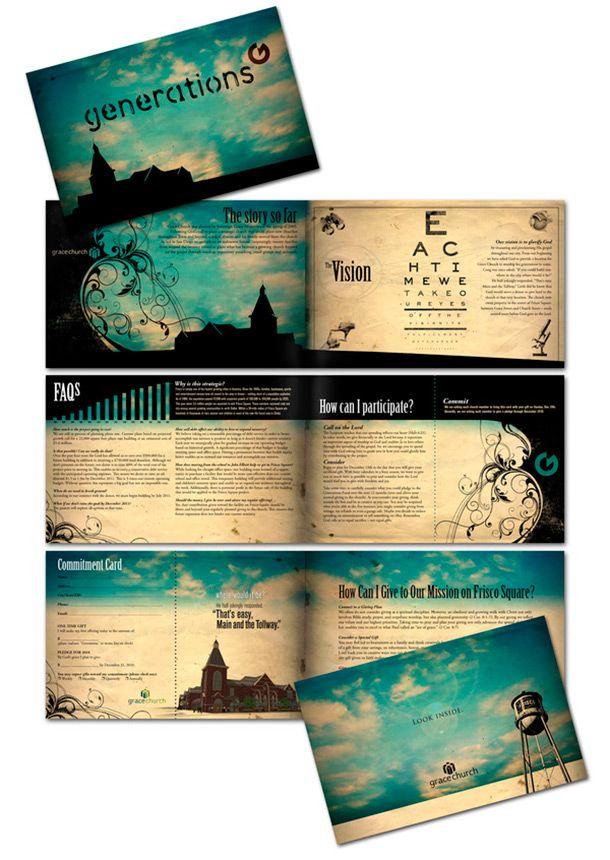 Simple color scheme - lots of info - pretty design Design - religious brochure