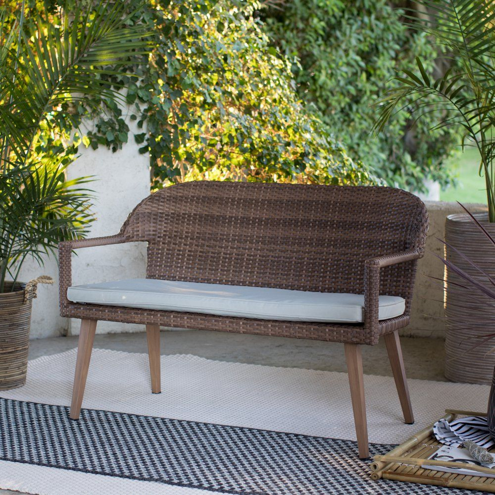 Coral Coast Pruitt Resin Wicker Outdoor Bench with Cushion ...