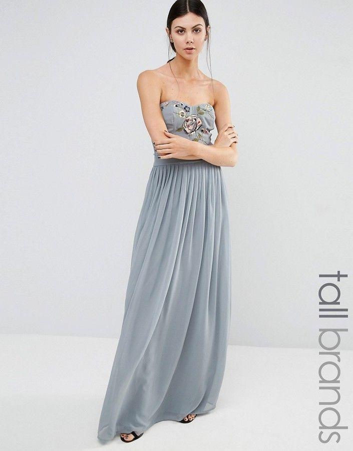 Maya Tall Embroidered Bandeau Maxi Dress | Grey Wedding Inspiration ...