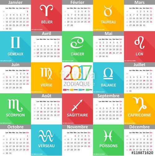 Calendrier Du Zodiaque.Vecteur Calendrier 2017 Illustre Les 12 Signes Du