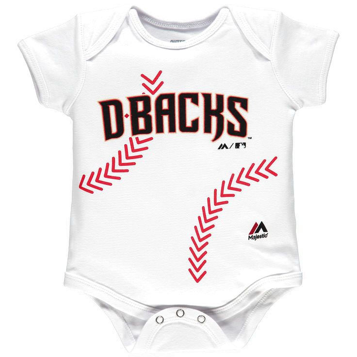 Arizona Diamondbacks Majestic Newborn Stitches Baseball Bodysuit - White - $14.39