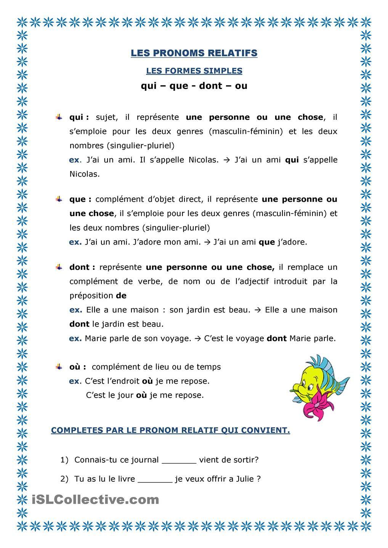 pronoms relatifs-simples | Language Love | French ...