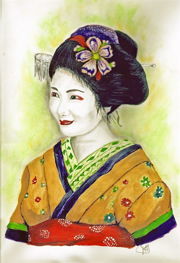 Geisha Paintings Illustration My Yellow Geisha By Judy Asian Art Amp Geisha S Geisha