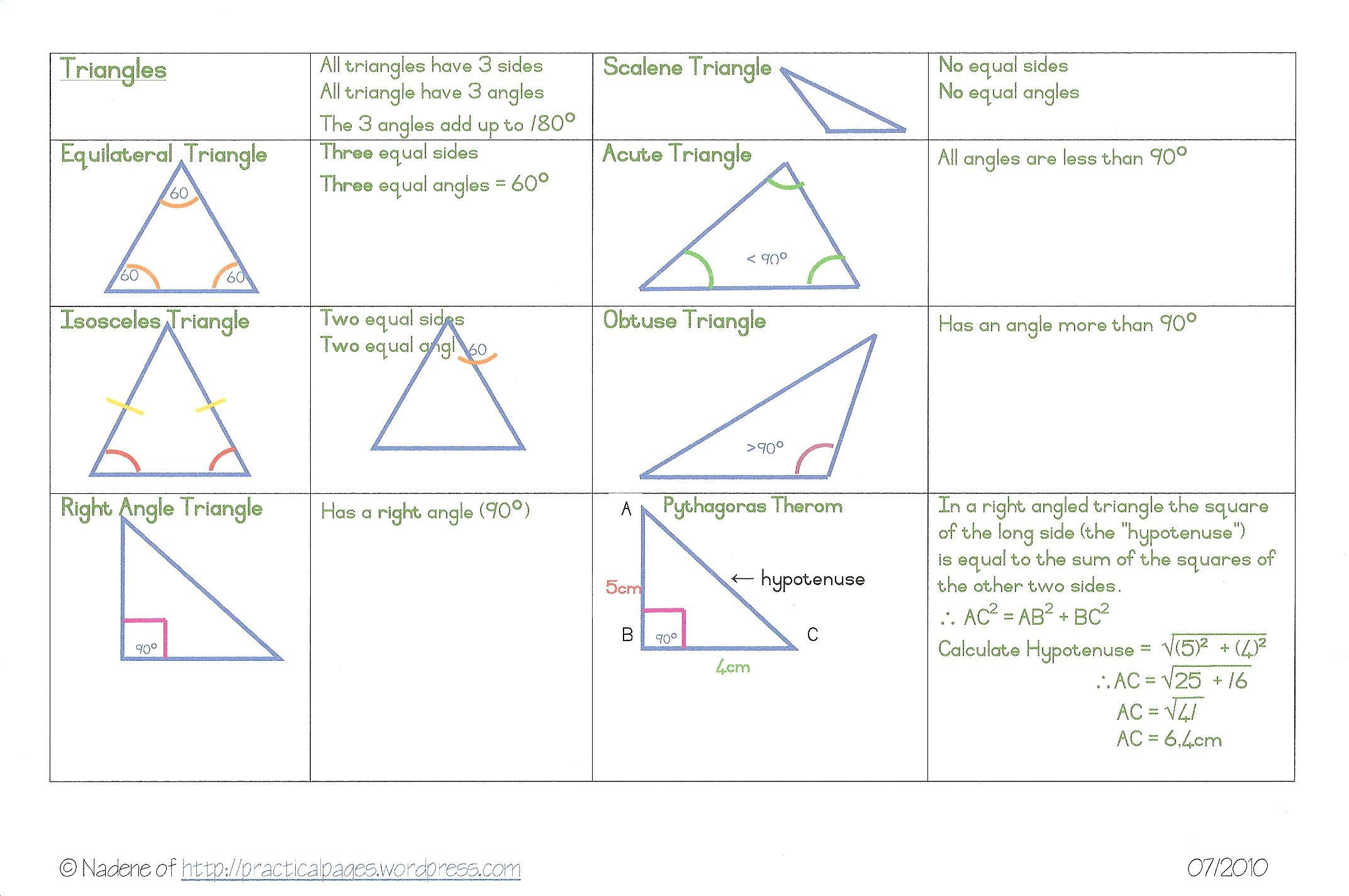 Geometry Angles Amp Triangle Types