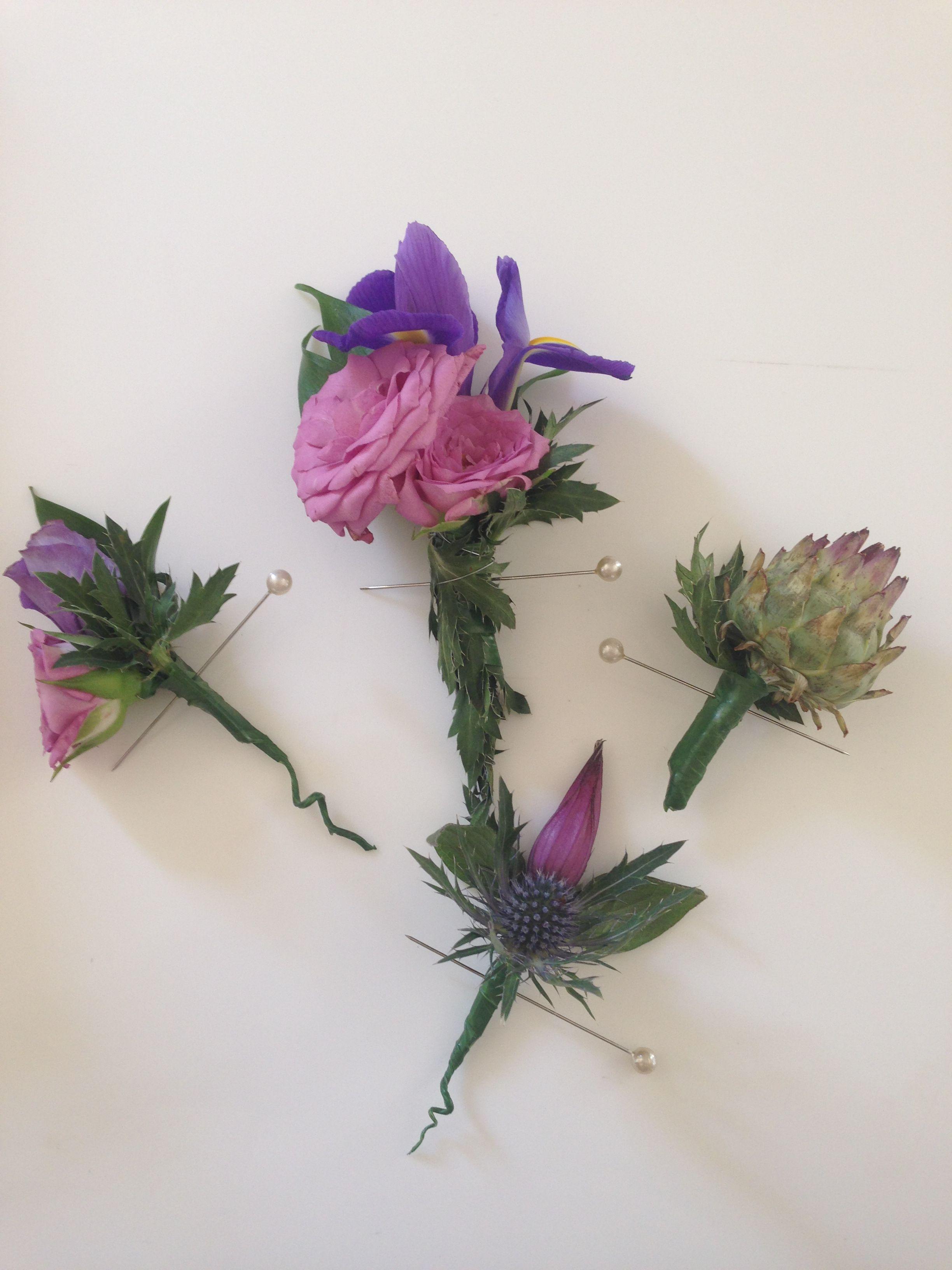 Ocean mikado spray rosestoad iris and thistle mixed buttonholes ocean mikado spray rosestoad iris and thistle mixed buttonholes fabulous flowers oxford izmirmasajfo