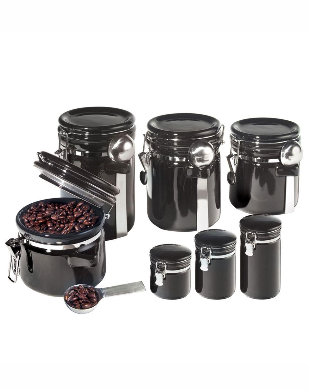 oggi 7 piece round canister set in black organizing nick nacks