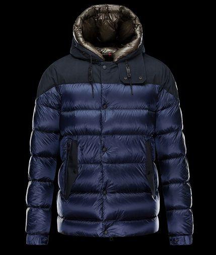 magasin Blouson Moncler GORAN Homme Capuche Veste Bleu chine. Down  JacketsMan ...