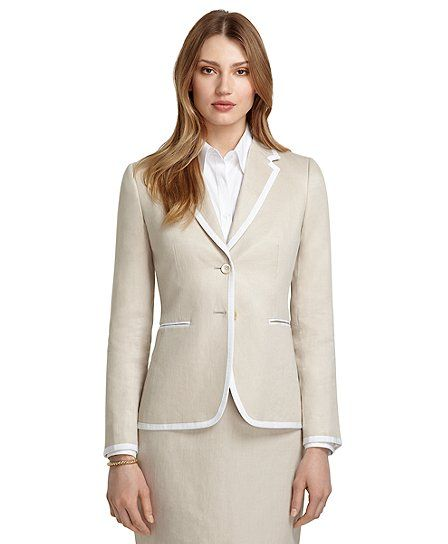 Brooks brothers stellita fit two button trimmed linen jacket in khaki 400 summer wardrobe - Brooks brothers corporate office ...