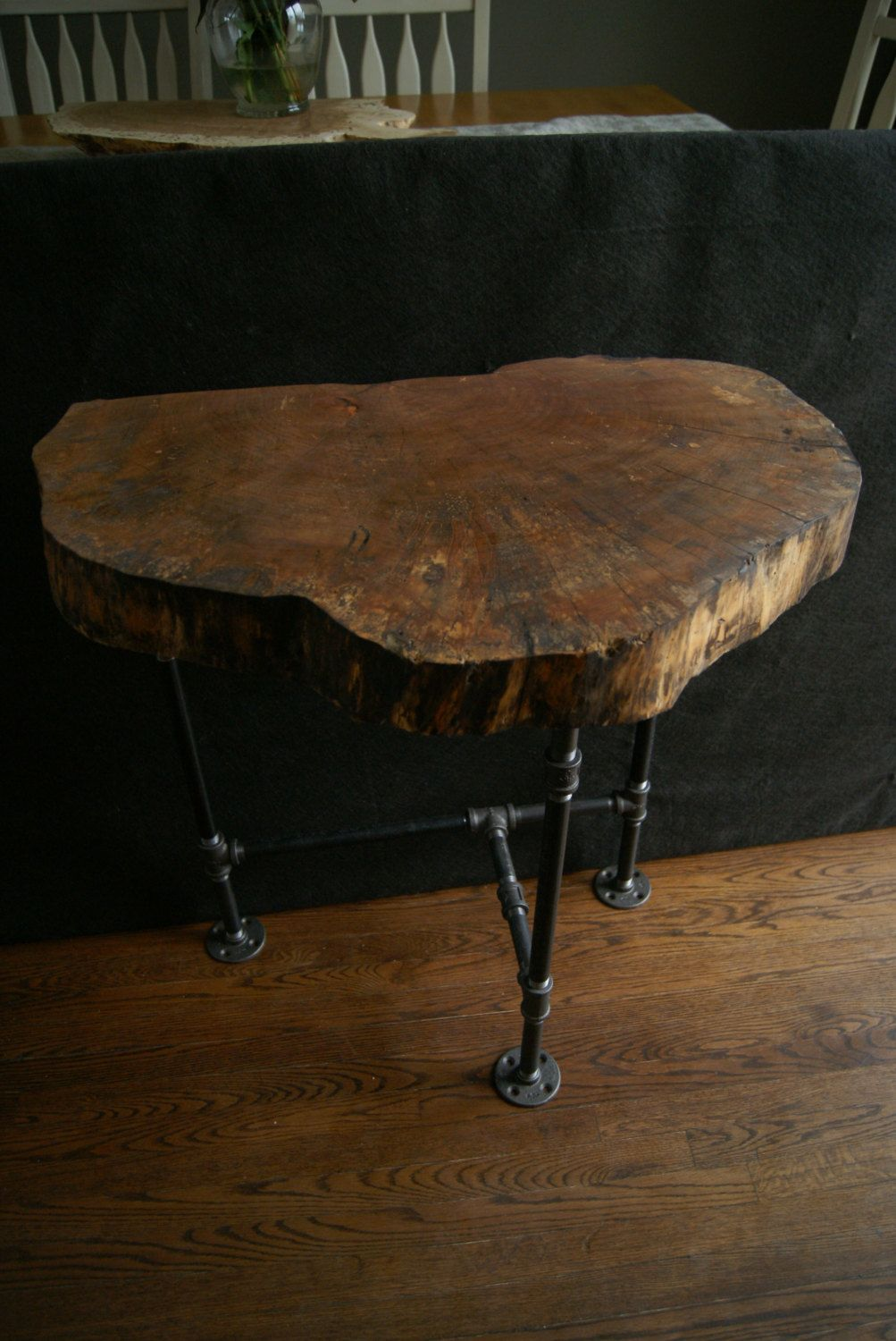 Natural edge elm entry table live edge end table slab wood industrial pipe