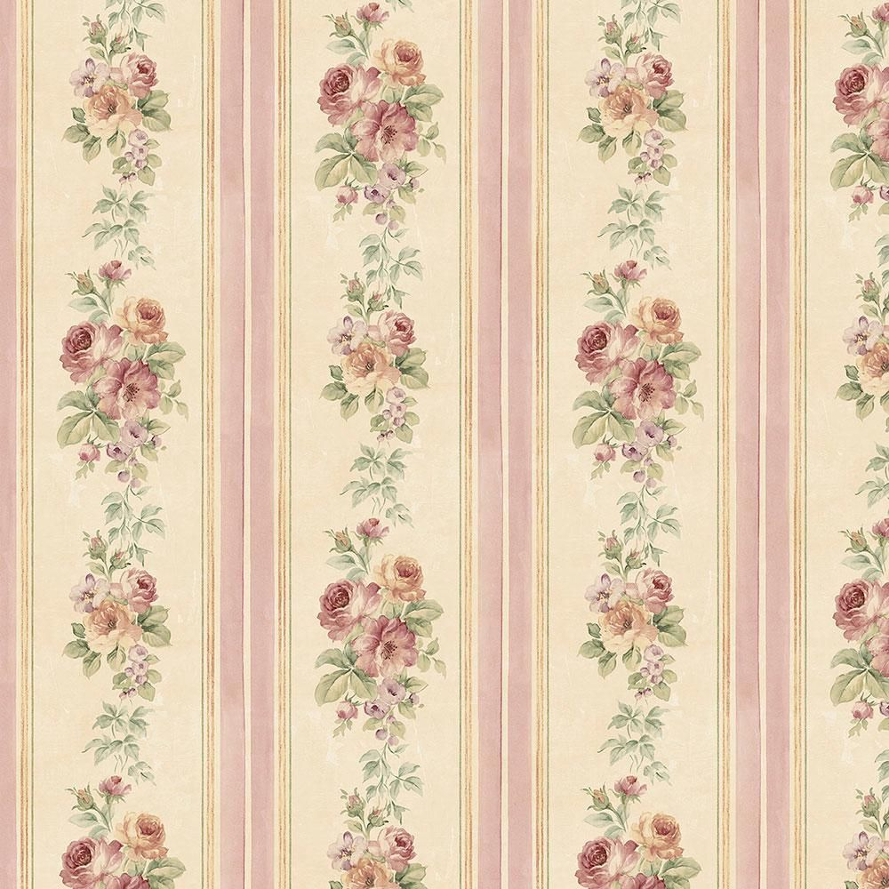 Small Rose Stripe Vinyl Roll Wallpaper ...