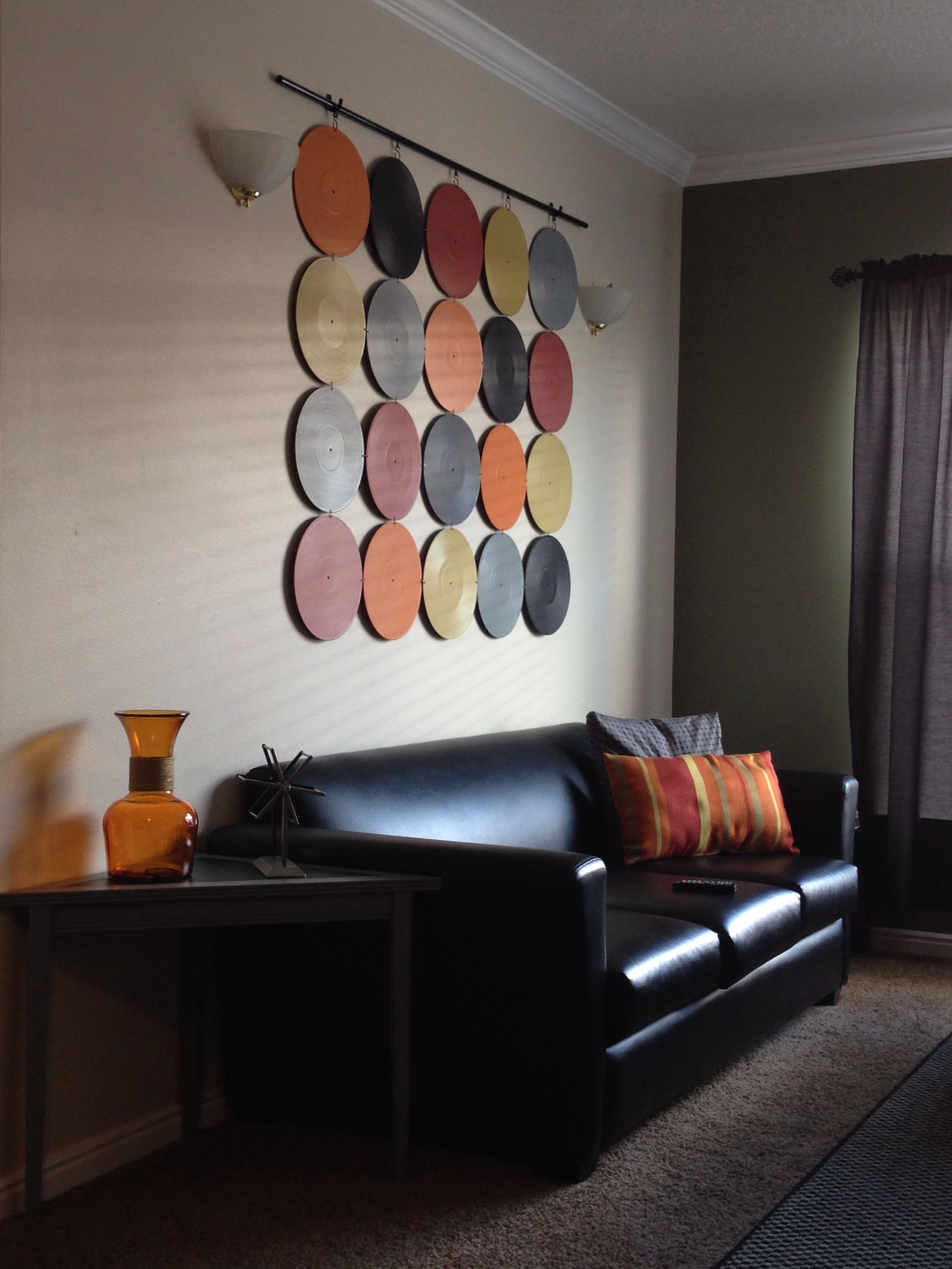 Modern look with hints of color vinyl record decor - Family room wall decor ...