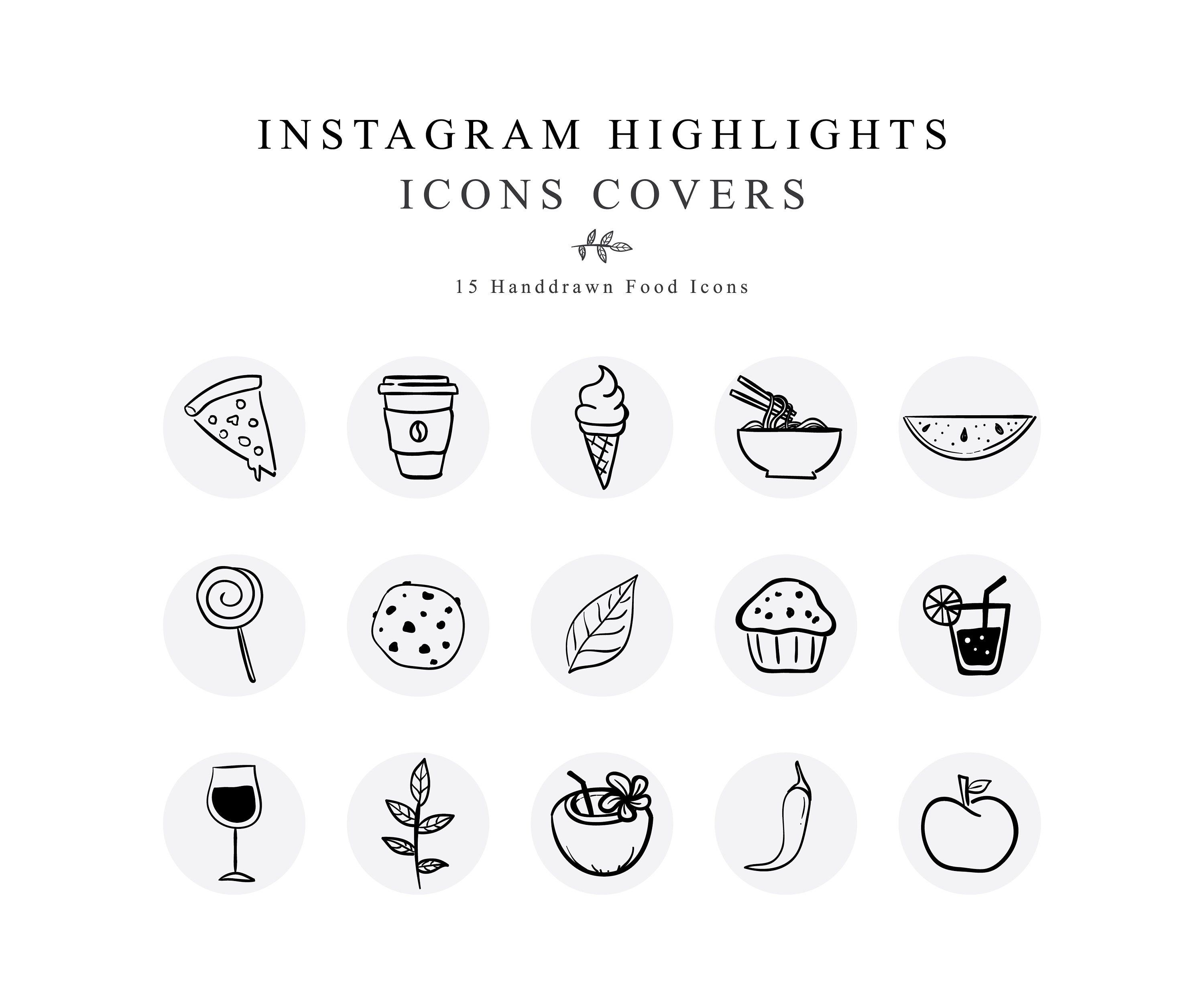 Instagram Story Highlights Cover Icons Food Handdrawn
