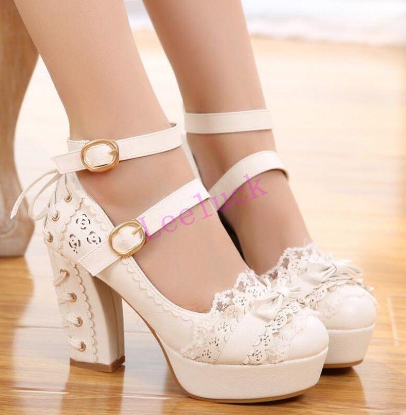 Sweet Lolita Pumps Bow Tobillera Strap Platform Chunky Heel Lolita Shoes Xljw1