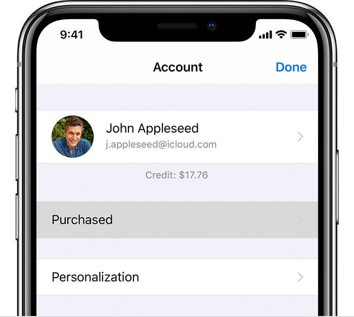 An iPhone showing the Account screen in the App Store app