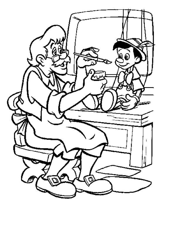 Disney Coloring Book Page Of Geppetto Painting Pinocchio The Movie Is Original That Taught World To Wish Upon A Star