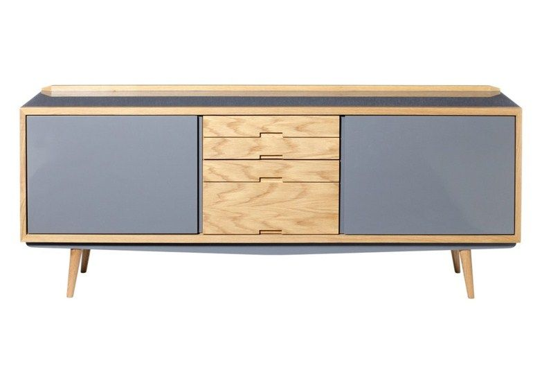 Lacquered oak sideboard with doors with drawers 50'S | Sideboard - RED EDITION