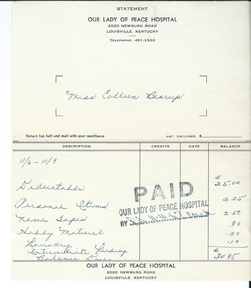1967 Our Lady Of Peace Hospital Receipt Louisville Ky Kentucky