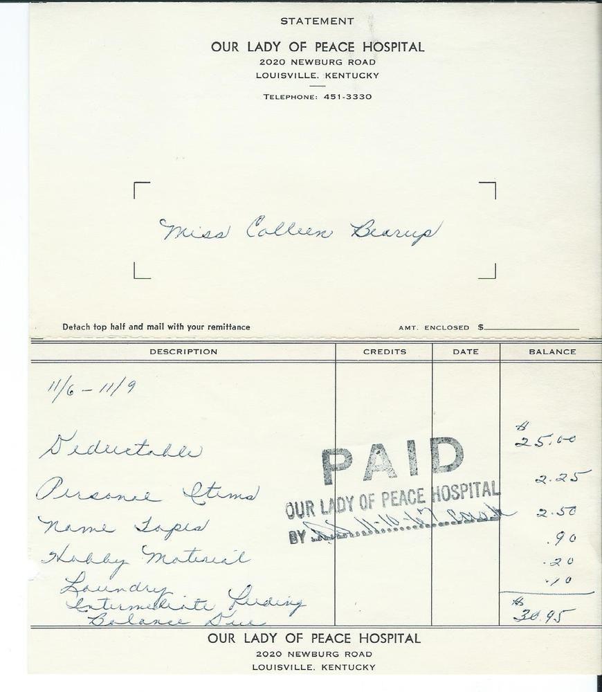 1967 Our Lady Of Peace Hospital Receipt Louisville Ky Kentucky