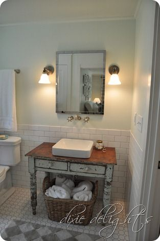 Southern Living 2012 Idea House..old Table Reposed Bathroom Sink