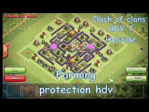 Clash of clans  Le meilleur village hdv7 hybride 2016  Farming et protec...