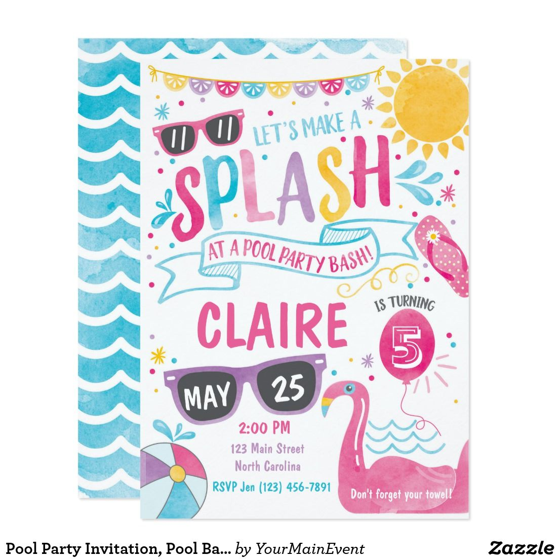 Pool party invitation pool bash birthday invite pool party invitation pool bash birthday invite summer pool party invitation pool bash birthday stopboris Image collections