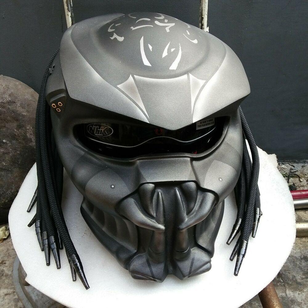 Mat Black Custom Predator Motorcycle Helmet Real Helmet Custom