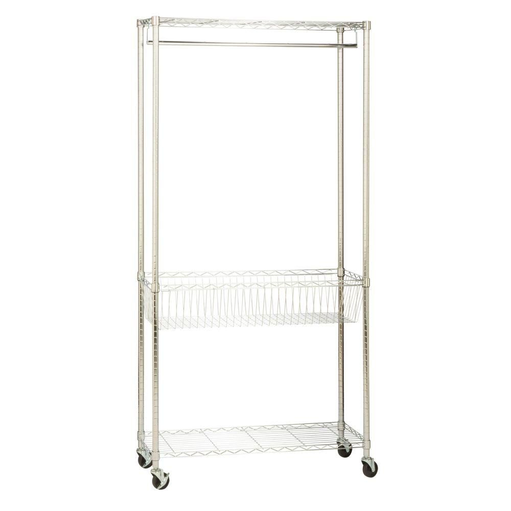 Honey Can Do Rolling Laundry Clothes Rack With Shelves Chrome