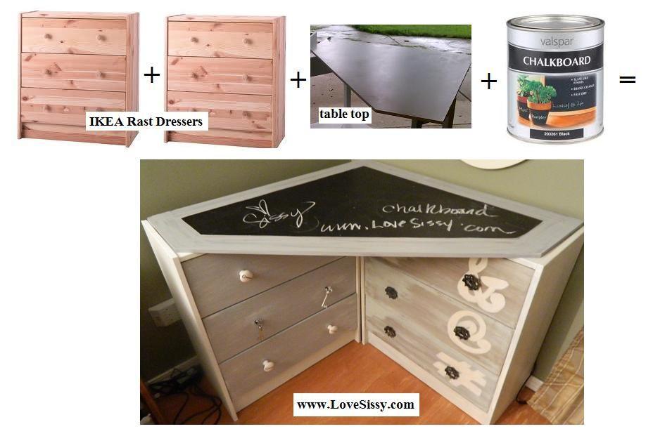 Two Ikea Rast Dressers A Chalkboard Paint Corner Desk Top Corner Desk Www