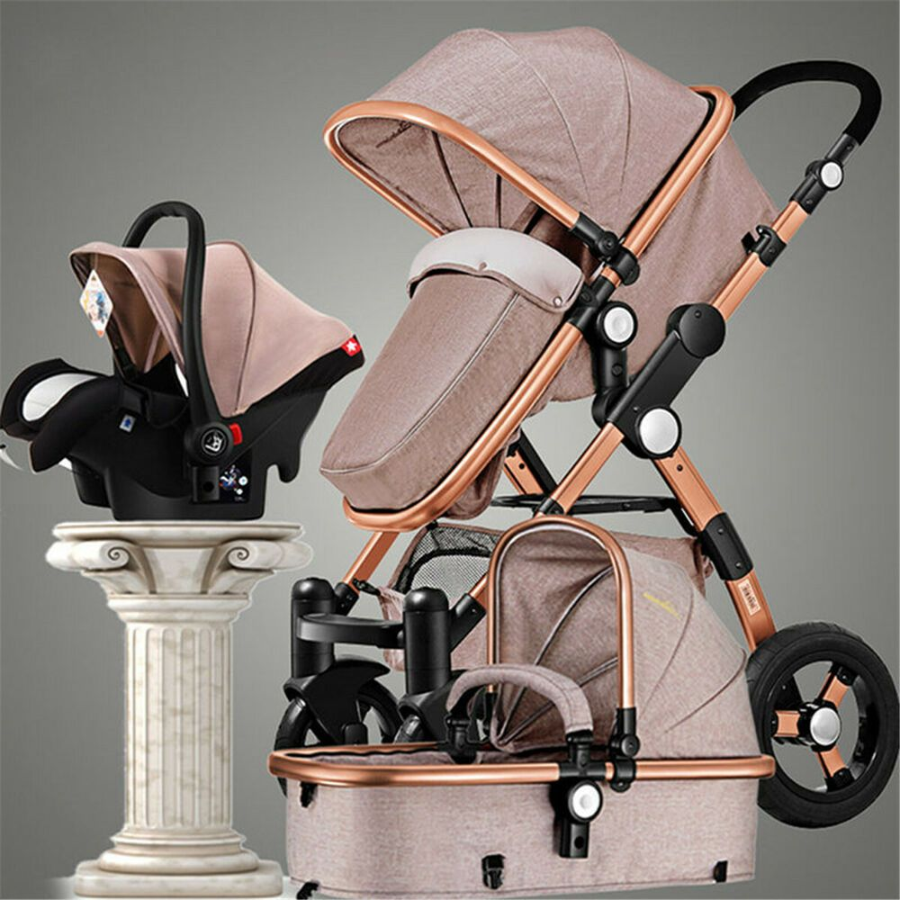 Baby Stroller 3 in 1 Pram Foldable Pushchair With Car Seat High View Anti-Shock