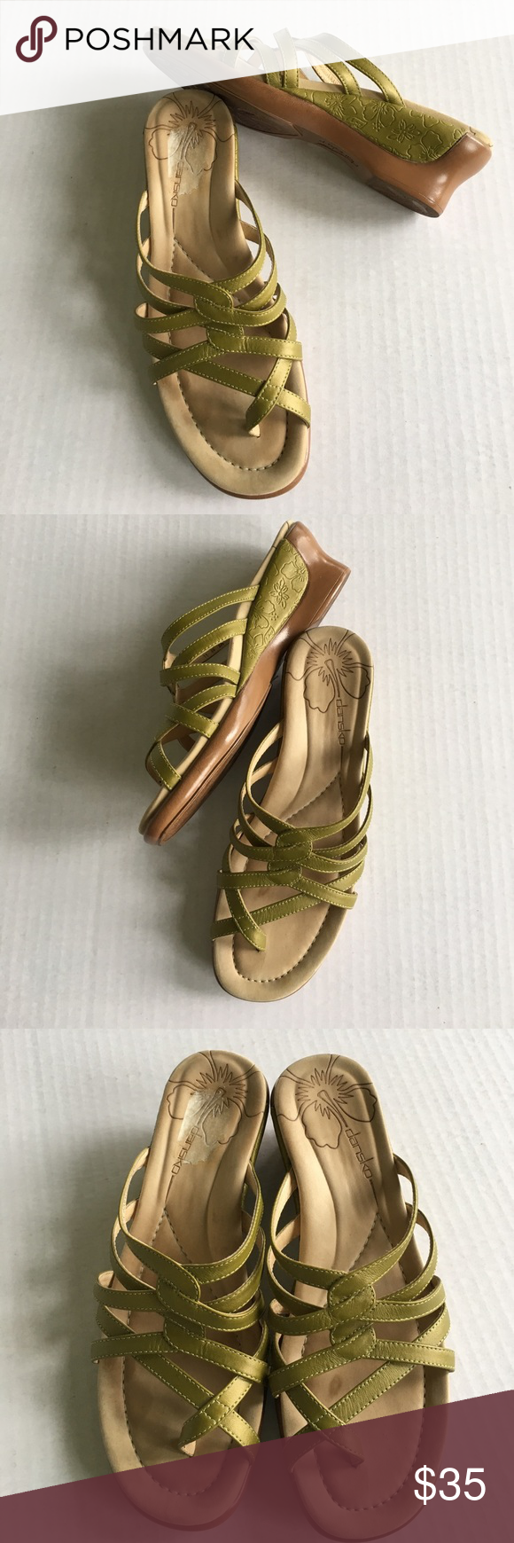 Dansko wedge toe sandals size eu37 is 6.5 / 7 Avocado green leather straps DANSKO wedge sandals in excellent barely worn (once or twice briefly) -- Made in Portugal sized EU 7 fits USA 6.5 /7 Dansko Shoes Sandals