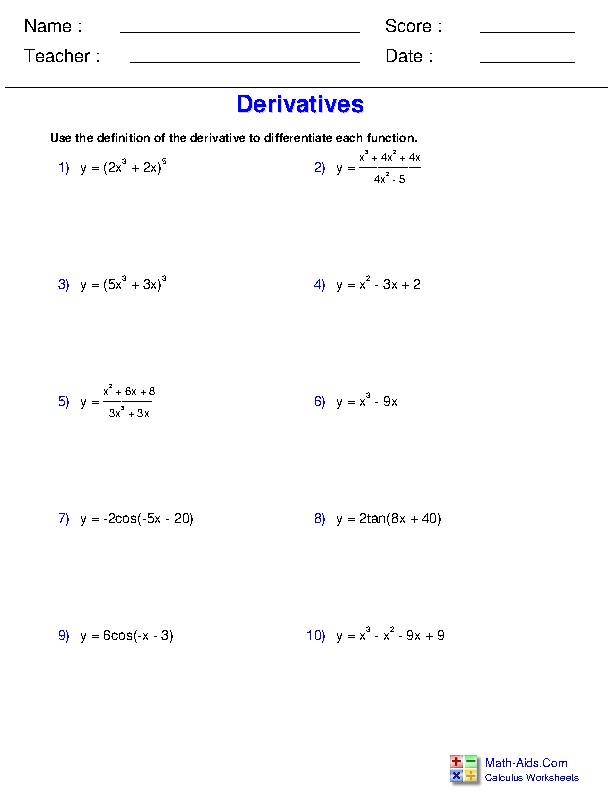 Calculus Worksheets Differentiation Rules For Calculus Worksheets Calculus Quotient Rule Ap Calculus