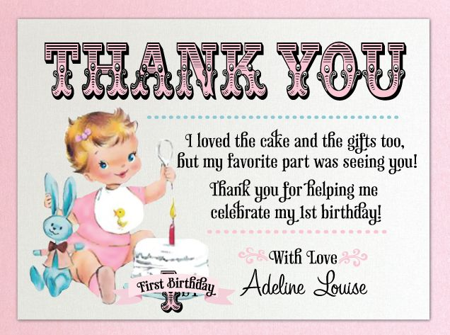 Vintage First Birthday Thank You Card Baby Girl In 2018