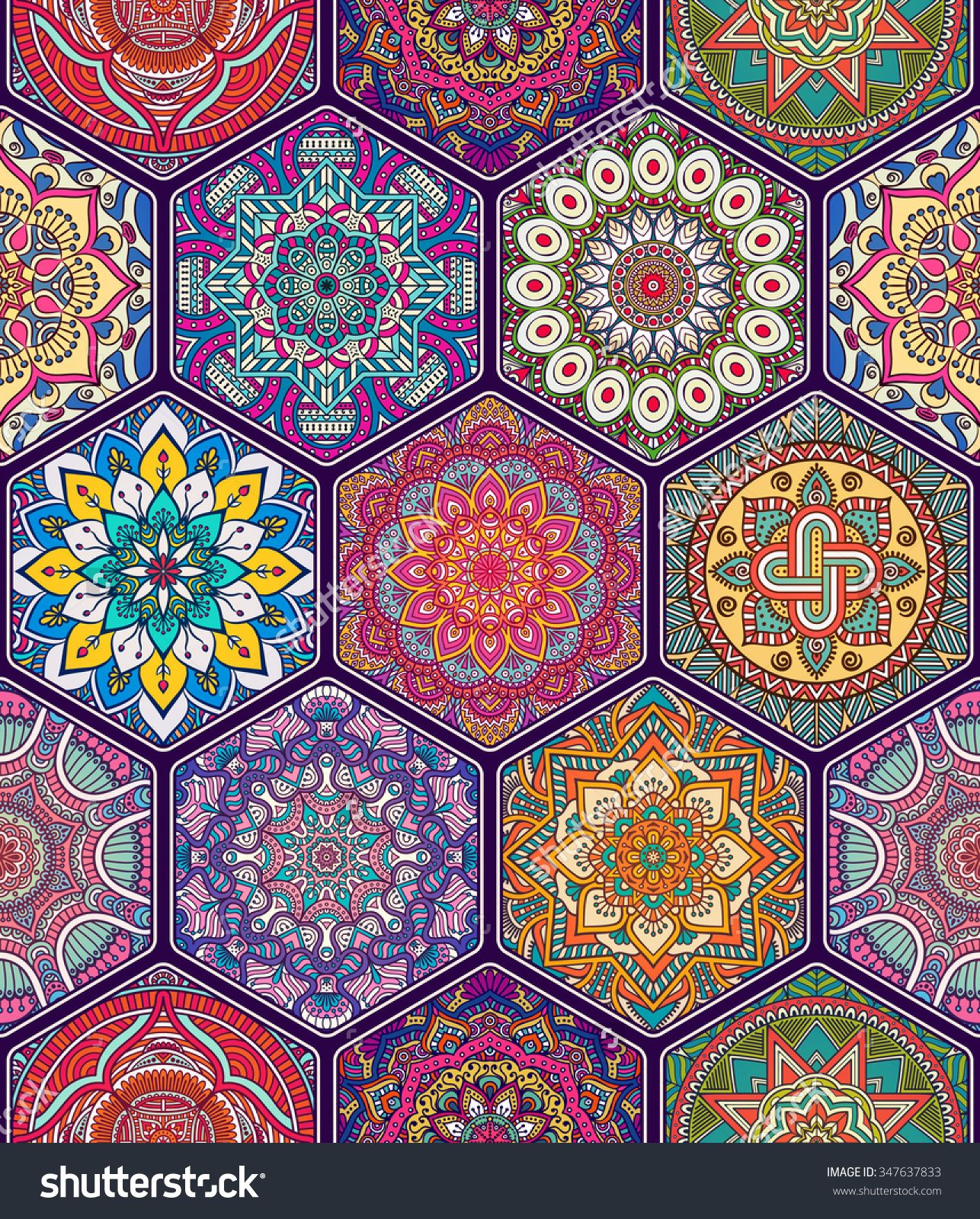 Seamless Pattern Vintage Decorative Elements Hand Drawn