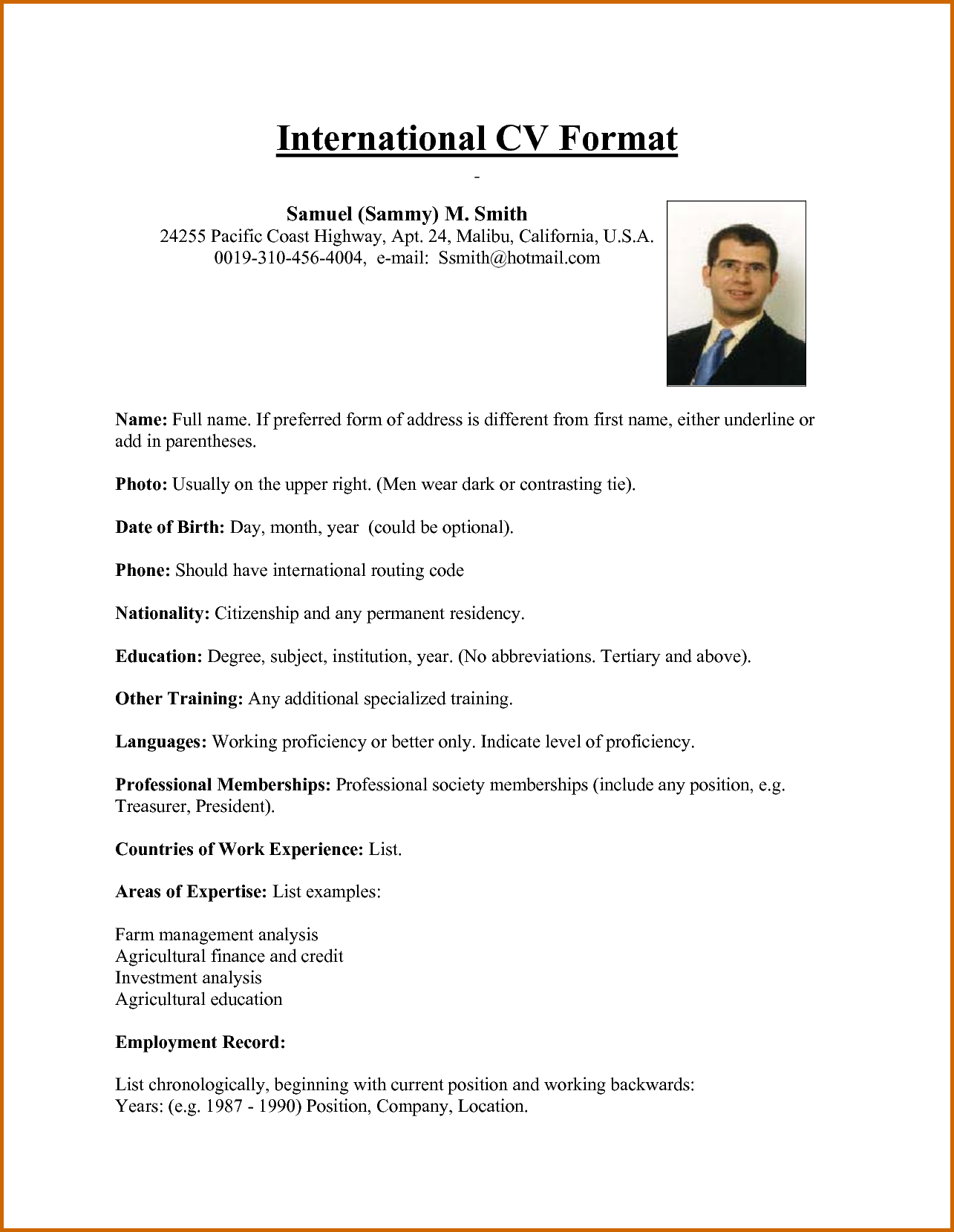 sample of some cv international standerd Yahoo Image