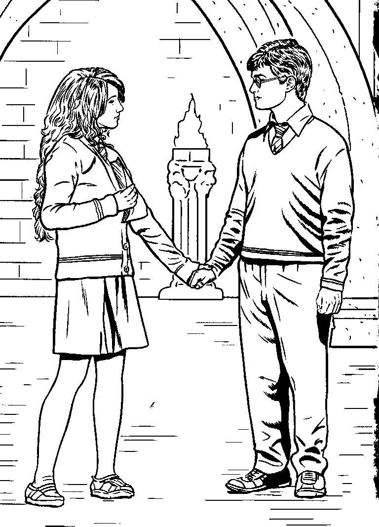 Free Harry Ron And Hermione Coloring Pages With Images Harry