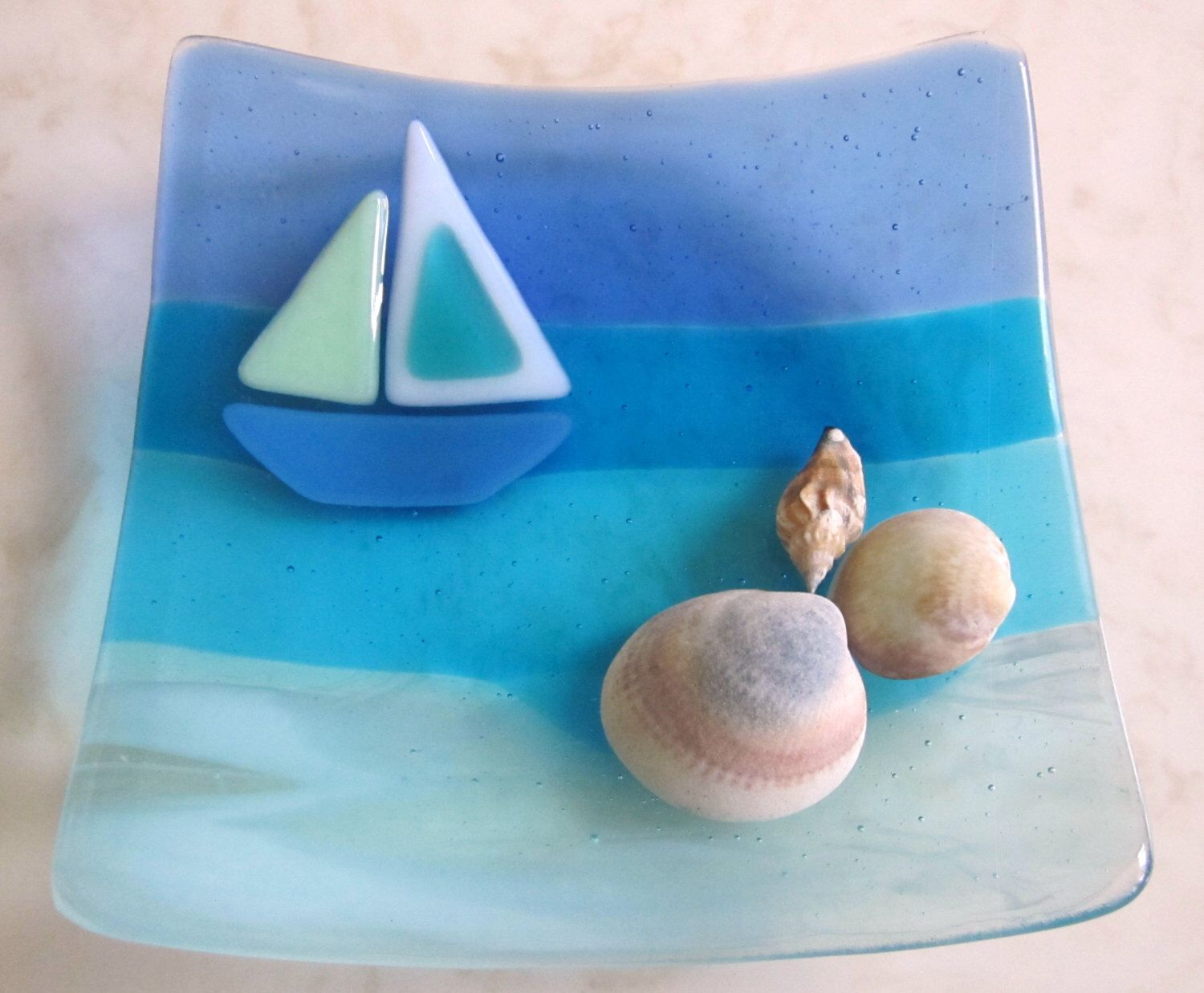 Row of beach huts curved fused glass table clock - Fused Glass Plate Glass Ocean Beach Decor Glass Boat At Sea Fused Glass Sailboat Glass By The Sea Aquamarine Glass Turquoise Water