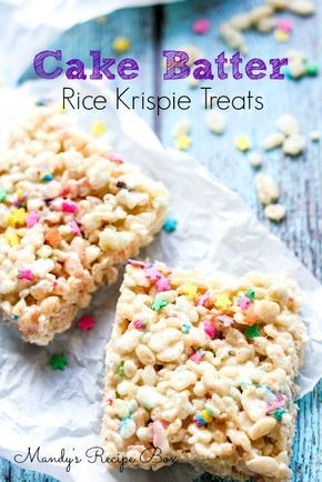 These Cake Batter Rice Krispie Treats have the yummy flavor of cake batter in every bite. Sprinkles are a must!