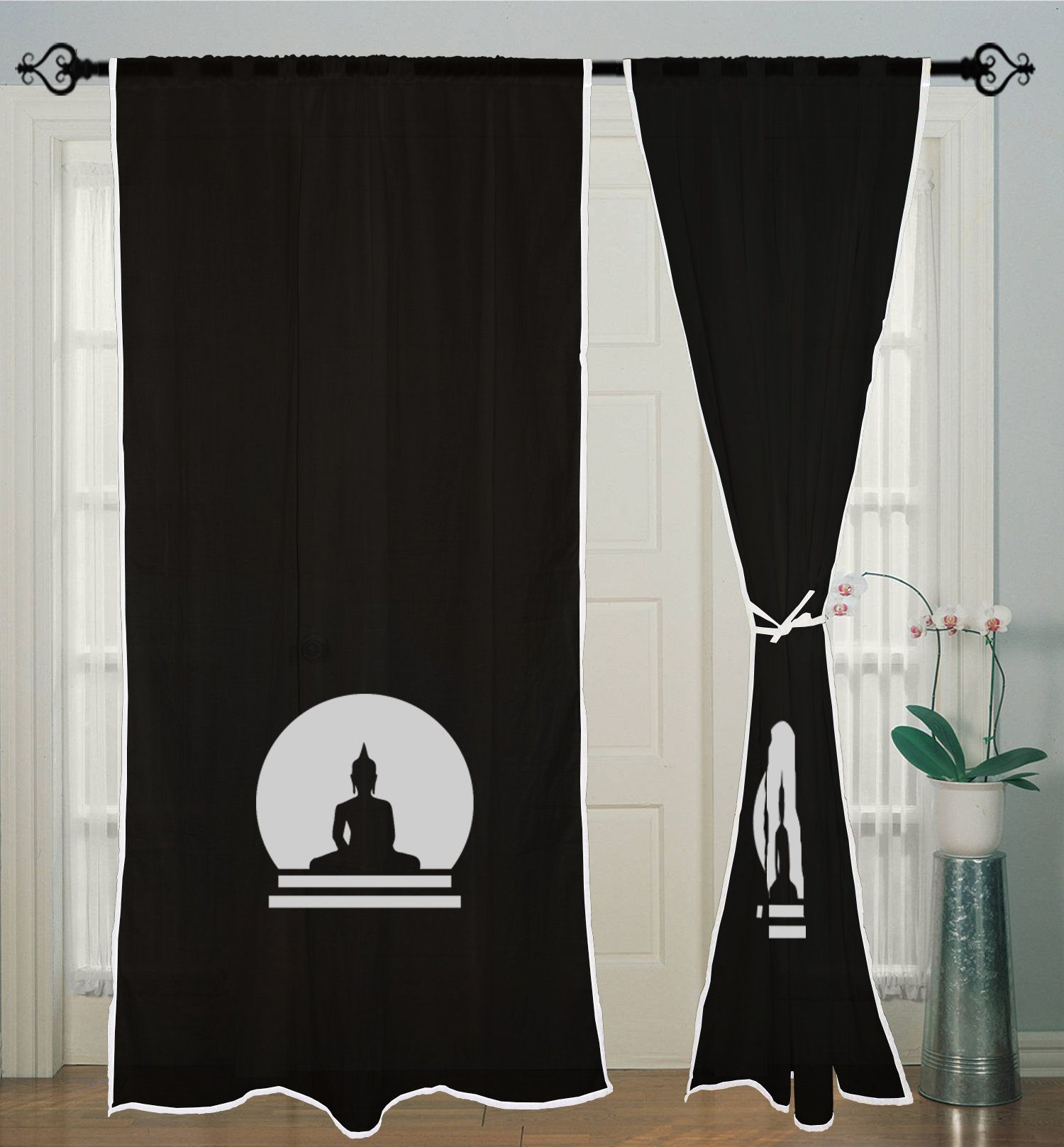 Buddha Curtain Black Curtains Window Curtain 2 Curtain Panels Living Room By Jagirdarshop On Etsy Curtain Panels Living Room Black Curtains Blue Curtains