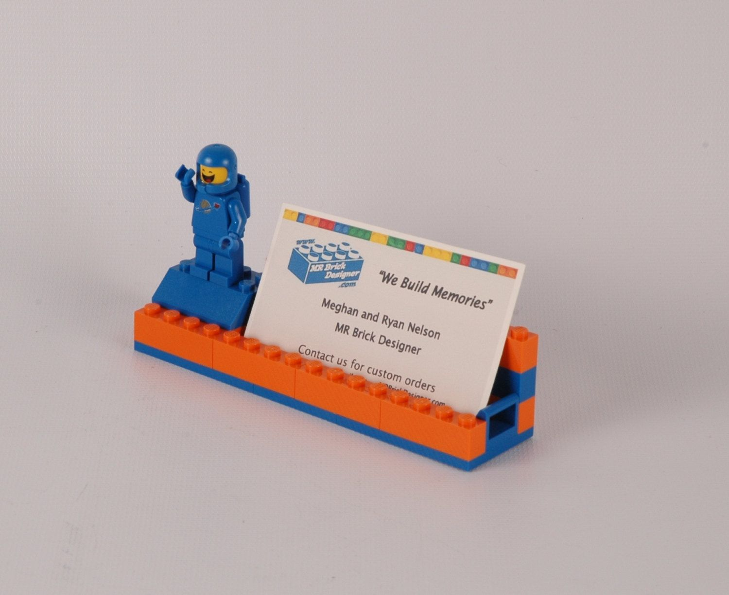 Orange and blue broncos lego r minifigure stand business card orange and blue broncos lego r minifigure stand business card holder by colourmoves Image collections